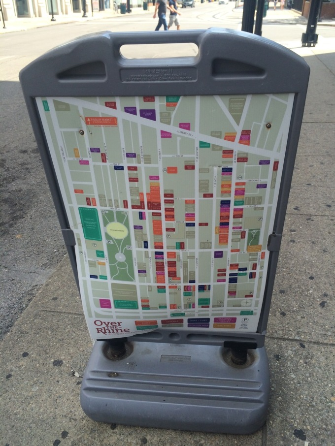 One of the many maps throughout the area. Washington Park is on the left. (Photo by B. Wing)