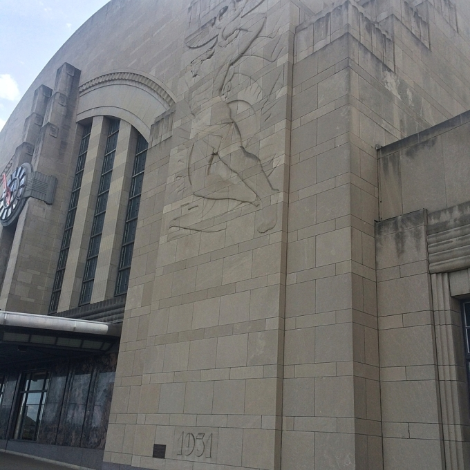 Detail of the front of the station showing '1931'   (Photo by B. Wing)