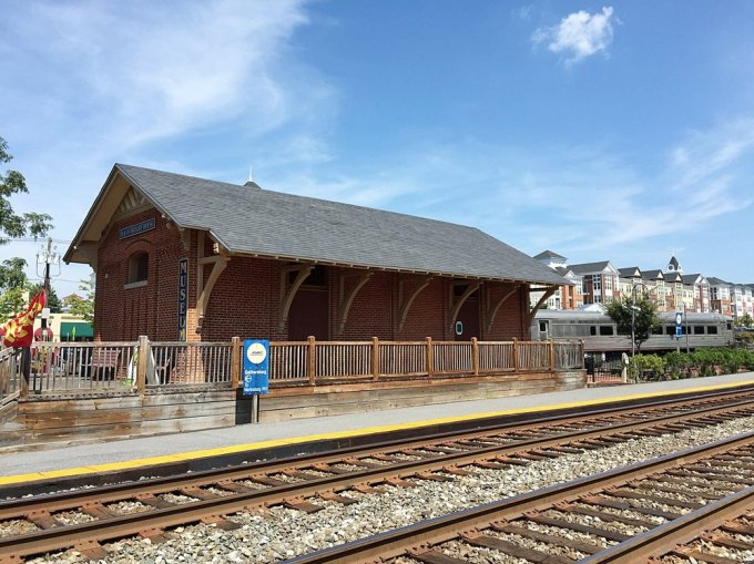The freight depot turned museum .Notice that there is still an active platform for MARC commuter trains.