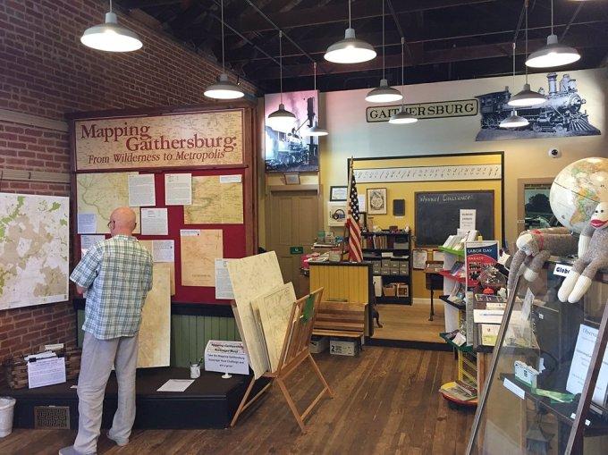 Inside the Gaithersburg Community Museum.