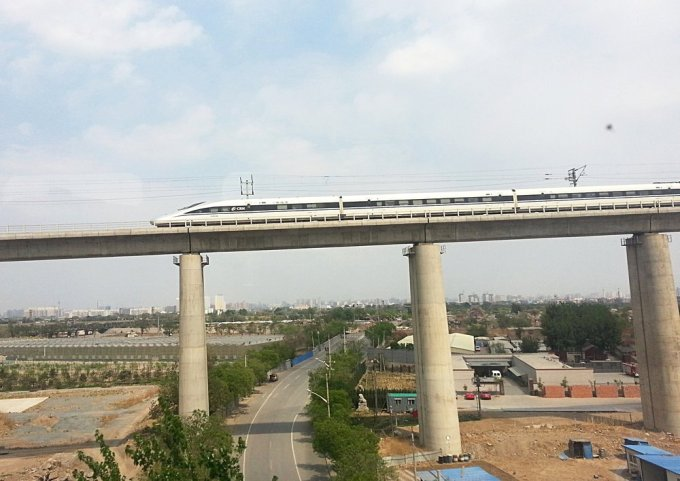 A significant portion of the high speed track is elevated.