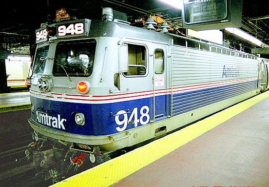 An Amtrak AEM-7 electric locomotive at Philadelphia 30th Street Station